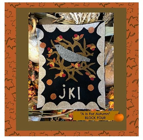 Autumn Alphabet Wool Quilt - Block 4, JKL