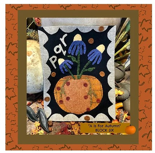 Autumn Alphabet Wool Quilt - Block 6, PQR