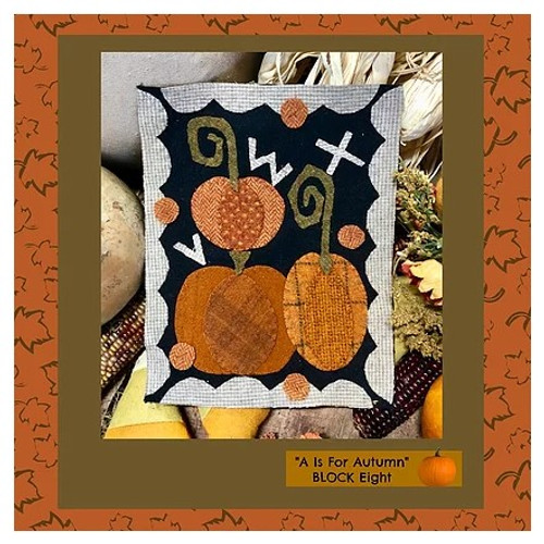 Autumn Alphabet Wool Quilt - Block 8, VWX