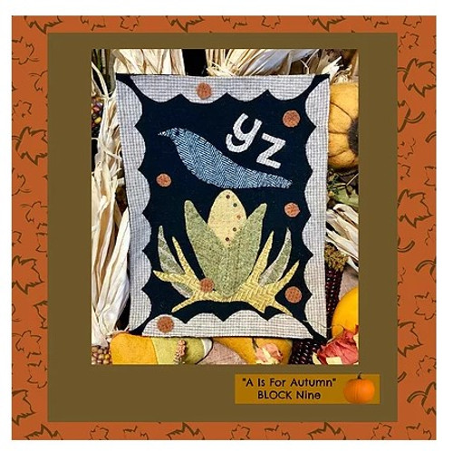Autumn Alphabet Wool Quilt - Block 9, YZ