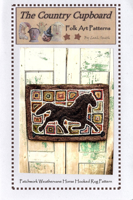 Patchwork Weathervane Horse Hooked Rug