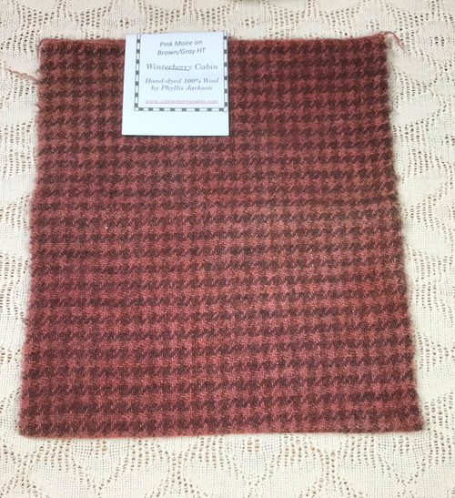 Pink Moiré on Brown/Gray Houndstooth - Long 1/16th Yard