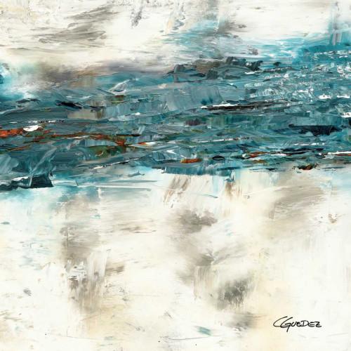 Guedez Carmen High Tide II Astratto cm89X89 Immagine su CARTA TELA PANNELLO CORNICE Quadrata