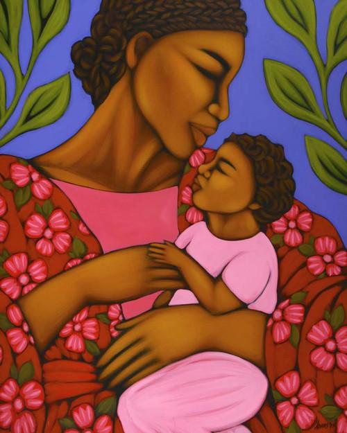 Adams Tamara Madre africana e bambino Arte per bambini cm107X85 Immagine su CARTA TELA PANNELLO CORNICE Verticale