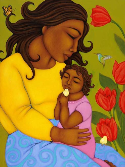 Adams Tamara Madre e figlio Arte per bambini cm73X54 Immagine su CARTA TELA PANNELLO CORNICE Verticale