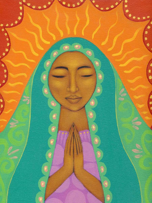 Adams Tamara Vergine di Guadalupe Figurativo cm73X54 Immagine su CARTA TELA PANNELLO CORNICE Verticale