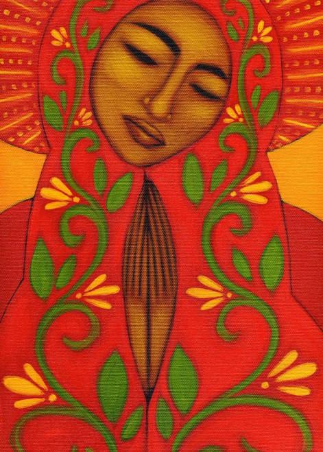 Adams Tamara Red Madonna Figurativo cm91X64 Immagine su CARTA TELA PANNELLO CORNICE Verticale