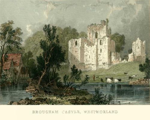 Allom T. Castle Brougham, Westmoreland europeo cm36X45 Immagine su CARTA TELA PANNELLO CORNICE Orizzontale
