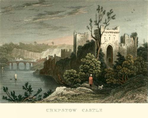 Allom T. Castello di Chepstow europeo cm36X45 Immagine su CARTA TELA PANNELLO CORNICE Orizzontale