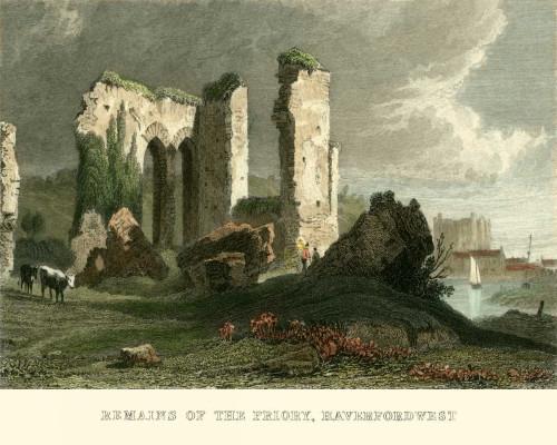 Allom T. Resti di Priorato, Haverford West europeo cm36X45 Immagine su CARTA TELA PANNELLO CORNICE Orizzontale