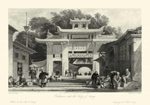 Allom T. Le scene in Cina V Paesaggio cm64X91 Immagine su CARTA TELA PANNELLO CORNICE Orizzontale