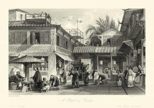 Allom T. Le scene in Cina VIII Paesaggio cm64X91 Immagine su CARTA TELA PANNELLO CORNICE Orizzontale