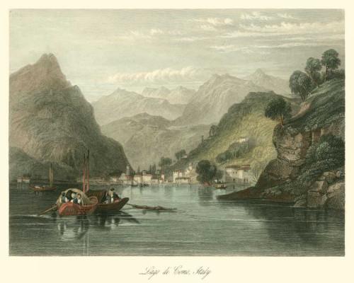 Leitch W.L. Lago di Como, Italy Paesaggio cm73X91 Immagine su CARTA TELA PANNELLO CORNICE Orizzontale