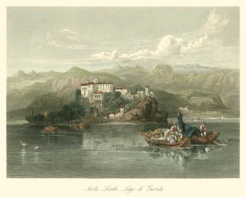 Leitch W.L. Isola Lecchi, Lago di Guarda, Italy Paesaggio cm73X91 Immagine su CARTA TELA PANNELLO CORNICE Orizzontale