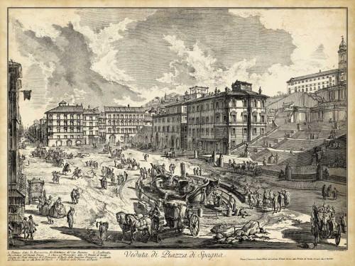 Piranesi Veduta di Piazza di Spagna Paesaggio cm82X109 Immagine su CARTA TELA PANNELLO CORNICE Orizzontale