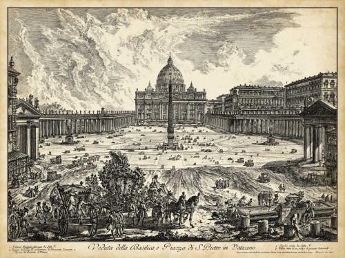 Piranesi Veduta della Basilica di S. Pietro Paesaggio cm82X109 Immagine su CARTA TELA PANNELLO CORNICE Orizzontale