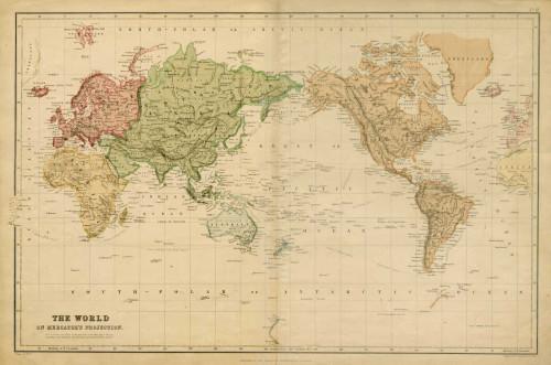Vision Studio Il mondo on Mercator Projection Vintage ? cm85X129 Immagine su CARTA TELA PANNELLO CORNICE Orizzontale