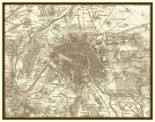 Vision Studio Seppia Mappa di Parigi Vintage ? cm59X75 Immagine su CARTA TELA PANNELLO CORNICE Orizzontale