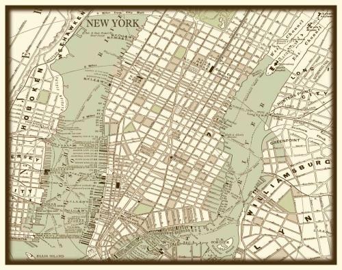 Vision Studio Seppia Mappa di New York Vintage ? cm59X75 Immagine su CARTA TELA PANNELLO CORNICE Orizzontale