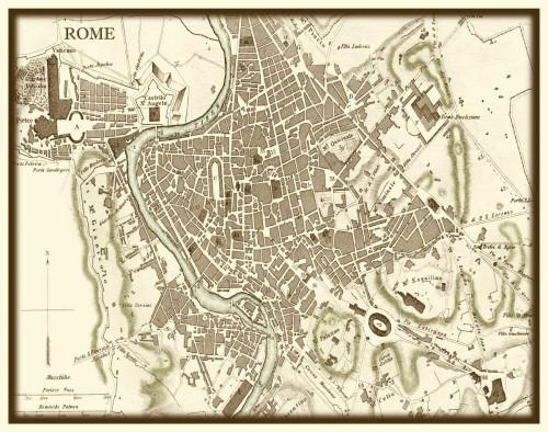 Vision Studio Seppia Mappa di Roma Vintage ? cm59X75 Immagine su CARTA TELA PANNELLO CORNICE Orizzontale