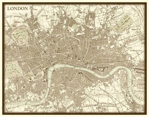 Vision Studio Seppia Mappa di Londra Vintage ? cm59X75 Immagine su CARTA TELA PANNELLO CORNICE Orizzontale