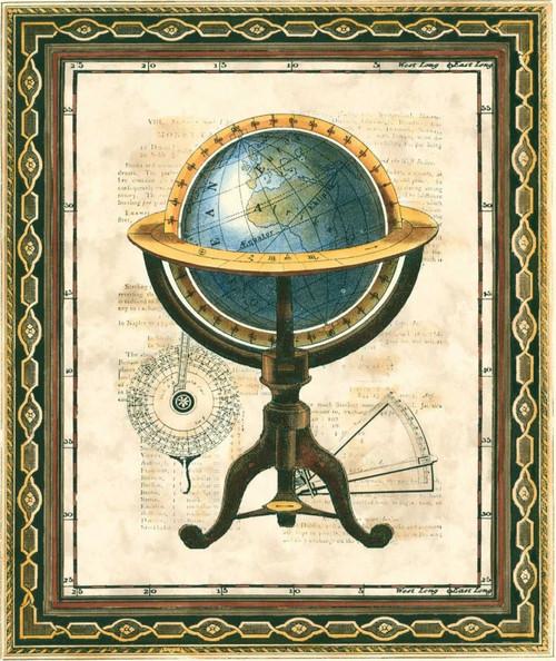 Vision Studio Tradizionale Globe I Vintage ? cm64X52 Immagine su CARTA TELA PANNELLO CORNICE Verticale