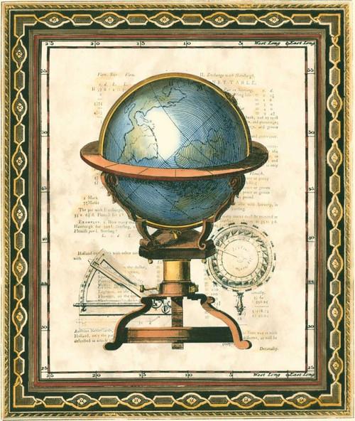 Vision Studio Tradizionale Globe II Vintage ? cm64X54 Immagine su CARTA TELA PANNELLO CORNICE Verticale