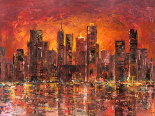 Florio Luigi Tramonto a New York posti cm84X111 Immagine su CARTA TELA PANNELLO CORNICE Orizzontale