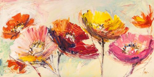 Florio Luigi Nel vento Floreale cm76X153 Immagine su CARTA TELA PANNELLO CORNICE Orizzontale