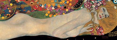 Klimt Gustav Sea Serpents II Figurativo cm54X157 Immagine su CARTA TELA PANNELLO CORNICE Orizzontale