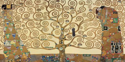 Klimt Gustav L'albero della vita Figurativo cm84X171 Immagine su CARTA TELA PANNELLO CORNICE Orizzontale