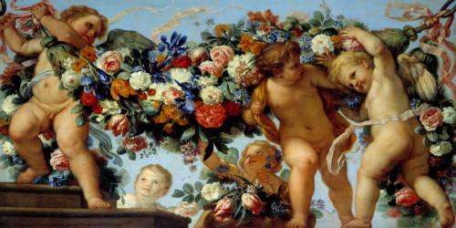 Maratta Carlo Amo e fiori ghirlande Tradizionale cm84X171 Immagine su CARTA TELA PANNELLO CORNICE Orizzontale