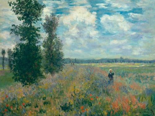Monet Claude Poppy Fields nei pressi di Argenteuil europeo cm76X100 Immagine su CARTA TELA PANNELLO CORNICE Orizzontale