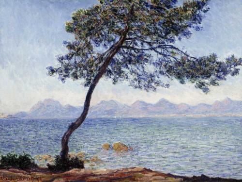 Monet Claude Antibes Paesaggio cm84X111 Immagine su CARTA TELA PANNELLO CORNICE Orizzontale