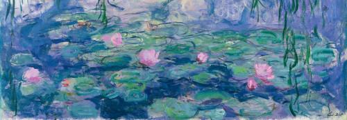 Monet Claude Ninfee Paesaggio cm59X171 Immagine su CARTA TELA PANNELLO CORNICE Orizzontale