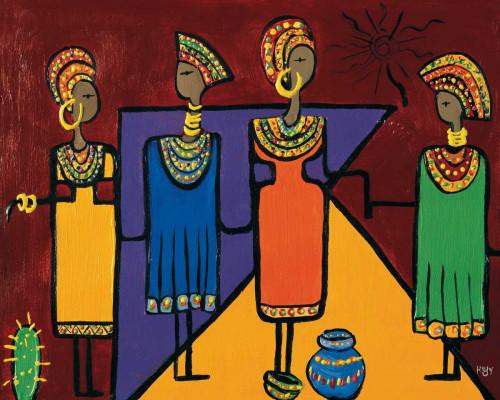 Hedy Colorful Africa I africano cm73X91 Immagine su CARTA TELA PANNELLO CORNICE Orizzontale