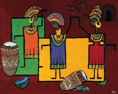 Hedy Colorful Africa II africano cm73X91 Immagine su CARTA TELA PANNELLO CORNICE Orizzontale