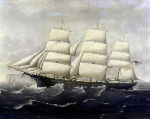 Alaster J.S. Clippership americana Costiero cm70X89 Immagine su CARTA TELA PANNELLO CORNICE Orizzontale