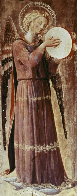 Angelico F. Angelo Con Tamburello Fantasia cm128X50 Immagine su CARTA TELA PANNELLO CORNICE Verticale