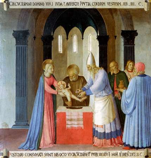 Angelico F. Storia della vita di Museumist Circoncisione di Gesù museo cm82X77 Immagine su CARTA TELA PANNELLO CORNICE Verticale