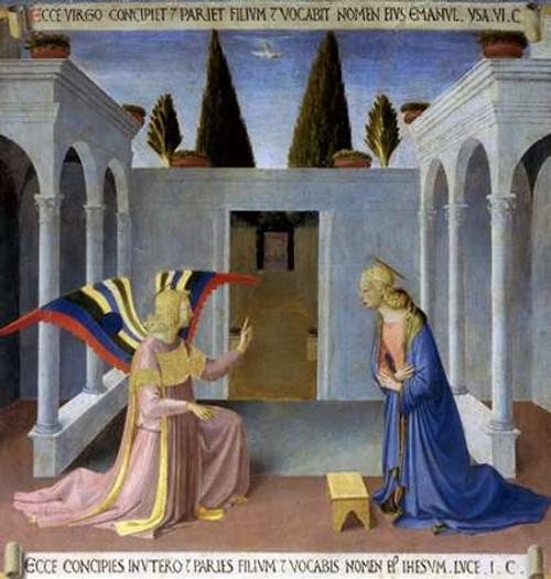 Angelico F. Storia della vita di Museumist L'Annunciazione museo cm82X77 Immagine su CARTA TELA PANNELLO CORNICE Verticale