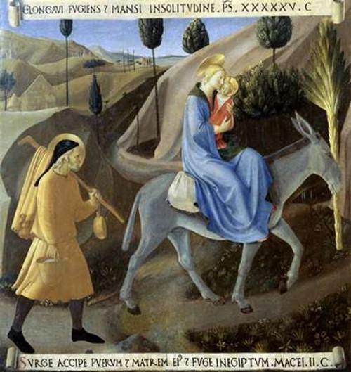 Angelico F. Storia della vita di Museumist la fuga in Egitto museo cm82X77 Immagine su CARTA TELA PANNELLO CORNICE Verticale