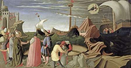 Angelico F. Predella Trittico Storia di San Luca museo cm57X112 Immagine su CARTA TELA PANNELLO CORNICE Orizzontale