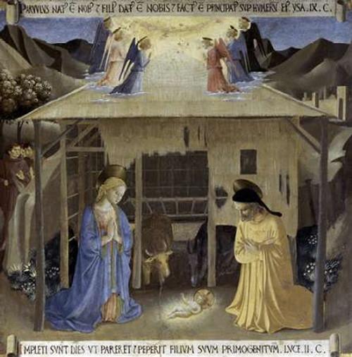 Angelico F. Storia della vita di Museumist natività museo cm80X80 Immagine su CARTA TELA PANNELLO CORNICE Quadrata