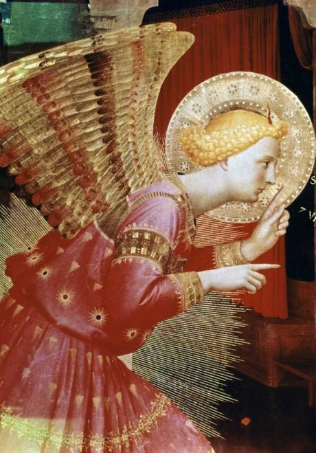 Angelico F. Angelo dell'Annunciazione   Dettaglio Religione cm98X68 Immagine su CARTA TELA PANNELLO CORNICE Verticale