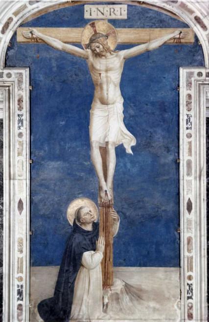 Angelico F. Crucifixcion Con San Domenico Religione cm98X64 Immagine su CARTA TELA PANNELLO CORNICE Verticale