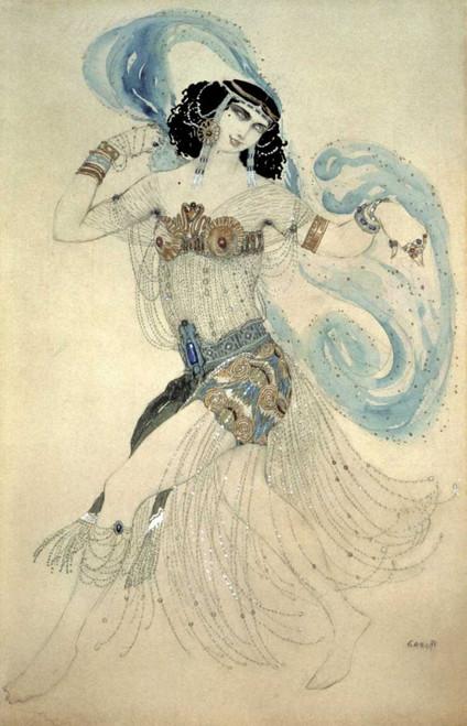 Bakst Leon Danza dei sette veli   Salome Figurativo cm98X64 Immagine su CARTA TELA PANNELLO CORNICE Verticale