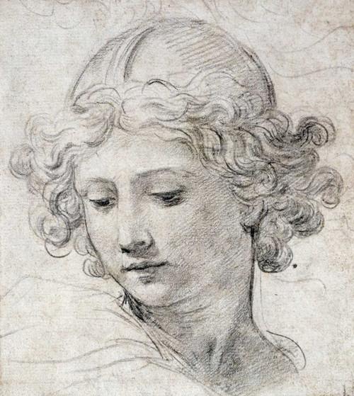 Berrettini Pietro La testa di un angelo Figurativo cm66X59 Immagine su CARTA TELA PANNELLO CORNICE Verticale