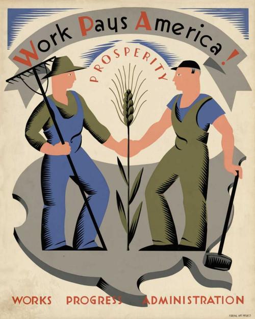 Bock Vera Il lavoro paga America! Prosperità. segni cm107X85 Immagine su CARTA TELA PANNELLO CORNICE Verticale