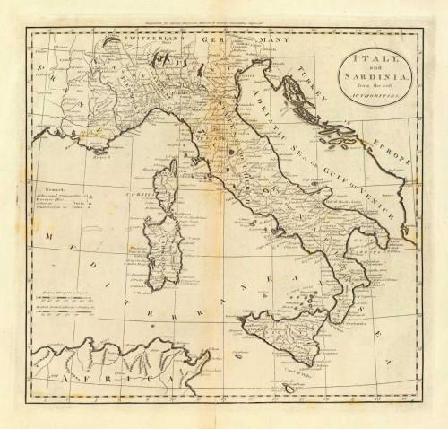 Carey Mathew L'Italia e la Sardegna 1796 europeo cm68X73 Immagine su CARTA TELA PANNELLO CORNICE Orizzontale